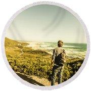 Australian Man Admiring Tasmania Landscape Round Beach Towel