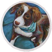 Round Beach Towel featuring the painting Australian Shepherd Puppy by Robert Phelps
