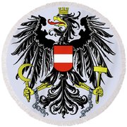 Round Beach Towel featuring the drawing Austria Coat Of Arms by Movie Poster Prints