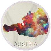 Austria Watercolor Map Round Beach Towel