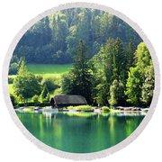 Austrian Lake Round Beach Towel