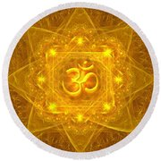 Authentic Om  Round Beach Towel