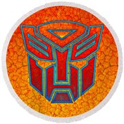 Round Beach Towel featuring the digital art Autobot Cracked by Justin Moore