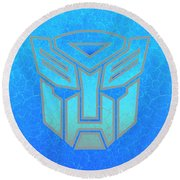 Round Beach Towel featuring the digital art Autobot Scales by Justin Moore