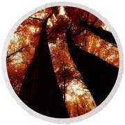 Autumn Canopy Abstract Round Beach Towel