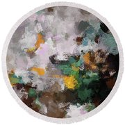 Round Beach Towel featuring the painting Autumn Abstract Painting by Ayse Deniz