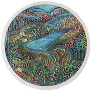 Autumn Aerial Round Beach Towel