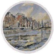 Autumn Along The Amstel In Amsterdam Round Beach Towel