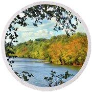 Autumn Along The New River - Bisset Park - Radford Virginia Round Beach Towel
