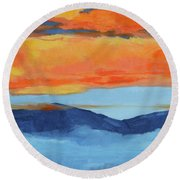 Autumn Alpenglow Round Beach Towel