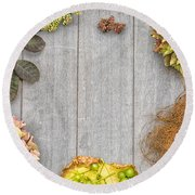 Autumn And Thanksgiving Concept Round Beach Towel