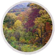 Autumn Arrives In Brown County - D010020 Round Beach Towel by Daniel Dempster