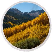 Autumn Aspen Near Castle Creek Round Beach Towel
