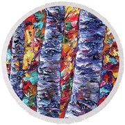 Autumn  Aspen Trees Contemporary Painting  Round Beach Towel