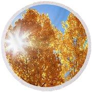Autumn Aspens With Sun Star Round Beach Towel