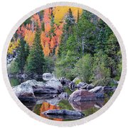 Round Beach Towel featuring the photograph Autumn At Bear Lake by David Chandler