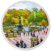 Autumn At Bethesda Terrace Nyc Round Beach Towel