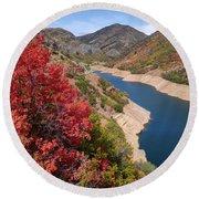 Autumn At Causey Reservoir - Utah Round Beach Towel