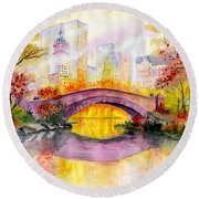 Autumn At Gapstow Bridge Central Park Round Beach Towel