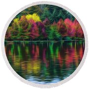 Autumn At Green Lake Seattle Round Beach Towel