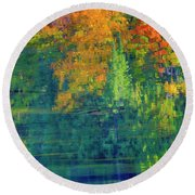 Round Beach Towel featuring the photograph Autumn At Mccarston's Lake by Gary Hall