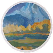 Round Beach Towel featuring the painting Autumn At Mt. Moran by Francine Frank