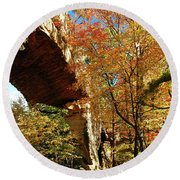 Autumn At Natural Bridge State Resort Round Beach Towel