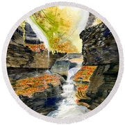 Autumn At Rainbow Falls  Round Beach Towel by Melly Terpening
