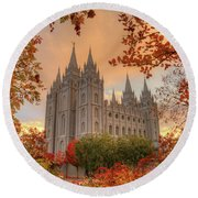 Autumn At Temple Square Round Beach Towel