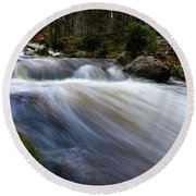 Round Beach Towel featuring the photograph Autumn At The Bode, Harz by Andreas Levi