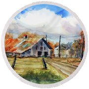 Autumn At The Farm Round Beach Towel by Ron Stephens