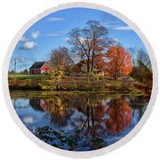Autumn At The Farm Round Beach Towel by Tricia Marchlik