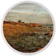 Round Beach Towel featuring the photograph Autumn At The Mouth Of The Big Sable by Michelle Calkins