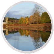 Autumn At The Old Stone Church Round Beach Towel