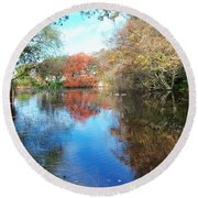 Autumn At The Park Round Beach Towel