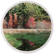 Autumn At The River Round Beach Towel