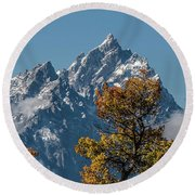 Round Beach Towel featuring the photograph Autumn At The Tetons by Yeates Photography