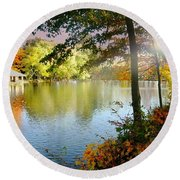 Autumn At Tilley Pond Round Beach Towel