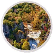 Autumn At Turner Falls Round Beach Towel by Joan Bertucci