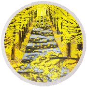 Autumn Avenue Round Beach Towel