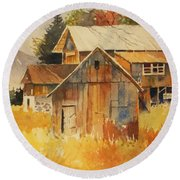 Round Beach Towel featuring the painting Autumn Barn And Sheds by Al Brown