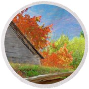 Autumn Barn Digital Watercolor Round Beach Towel