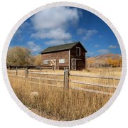 Autumn Barn Round Beach Towel