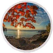 Autumn Bay Near Shovel Point Round Beach Towel