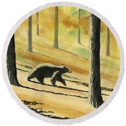 Autumn Bear Round Beach Towel