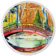 Round Beach Towel featuring the painting Autumn Beauty by Tom Riggs
