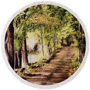 Autumn Begins In Underhill Round Beach Towel