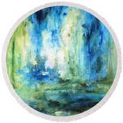 Round Beach Towel featuring the painting Spring Rain  by Laurie Rohner