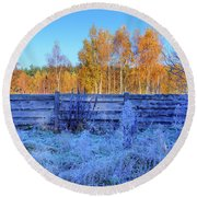 Autumn Behind Round Beach Towel