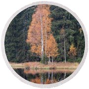 Autumn Birch By The Lake Round Beach Towel by Michal Boubin